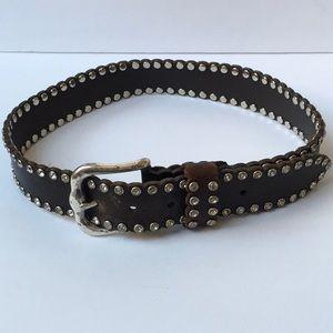 Rhinestone Embellished Leather Belt